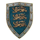 medieval home decor  Medieval Times Three Lions Royal Coat of Arms Shield Wall Sculpture Decor