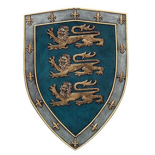 Medieval Times Three Lions Royal Coat of Arms Shield Wall Sculpture (Medieval Home Decor)