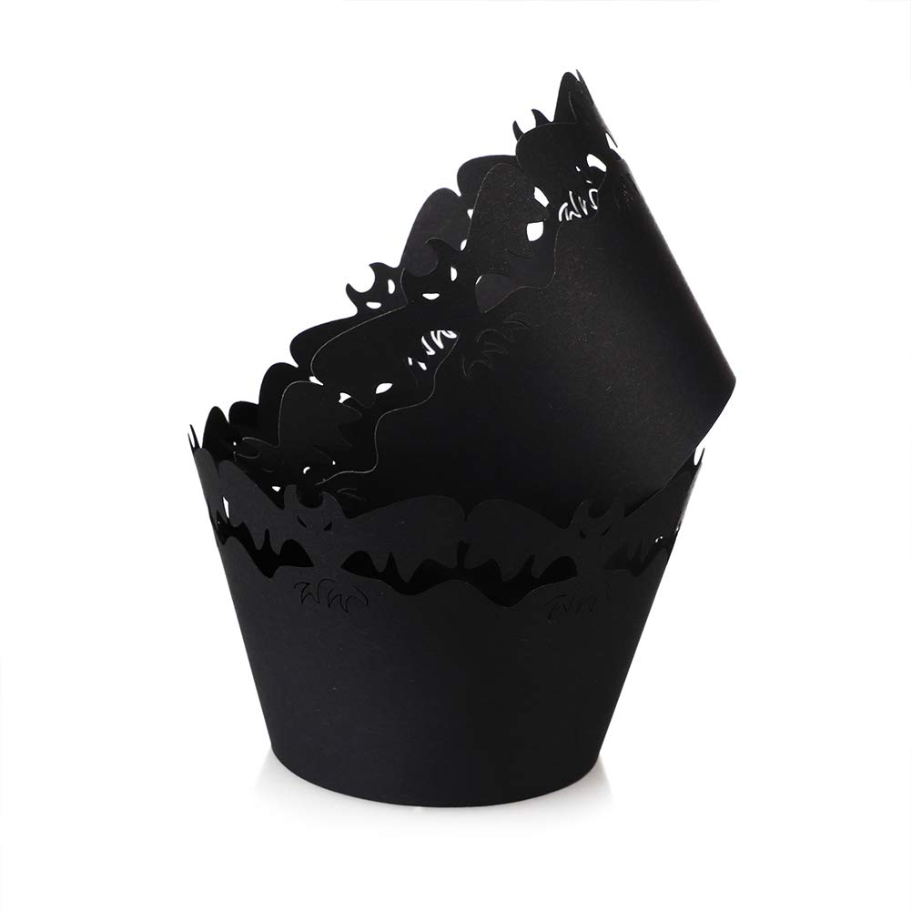 Carry360 Black Bat Cupcake Wrappers, 100pcs Lace Cupcake Liners Laser Cut Cupcake Paper Wraps Muffin Cups for Halloween Party