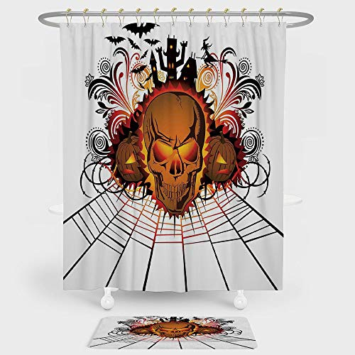 iPrint Halloween Decorations Shower Curtain And Floor Mat Combination Set Angry Skull Face on Bonfire Spirits of Other World Concept Bats Spider Web For decoration and daily use Multi -