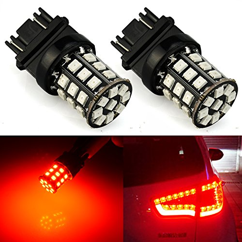 (JDM ASTAR AX-2835 Chipsets 3056 3156 3057 3157 LED Bulbs For Brake Light Tail lights Turn Signal, Brilliant Red ( Only work for standard socket , not for ck socket))