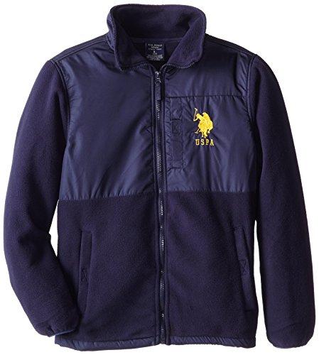 U.S. Polo Association Big Boys' Polar Fleece Jacket with Rip Stop Trim, Navy, 14/16