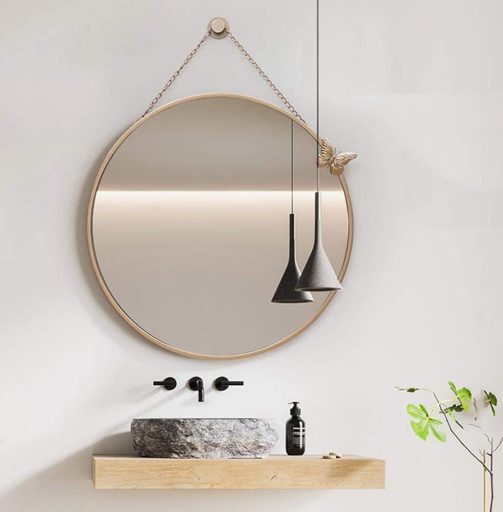 Vidrio Espejo de ba/ño 40 cm Makeup mirror Espejo de Maquillaje Delicado Espejo de ba/ño montado en la Pared Adhesivo Brillante Dorado Espejo Redondo para Inodoro montado en la Pared