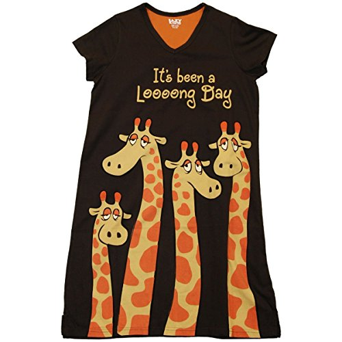 Lazy One It's Been a Loooong Day Giraffe Nightshirt (Brown)