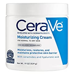 Developed with dermatologists, CeraVe Moisturizing Cream has a unique formula that provides 24-hour hydration and helps restore the protective skin barrier with three essential ceramides (1,3,6-II). This rich, non-greasy, fast-absorbing formu...