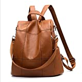 Women Backpack Purse Waterproof PU Leather Anti-theft Rucksack Fashion School Shoulder Bag Brown