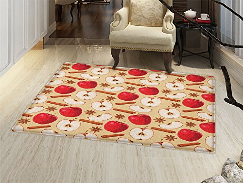 smallbeefly Apple Door Mats for home Quartered and Halved Apples with Cinnamon Sticks and Star Anise Diet Recipe Bath Mat Bathroom Mat with Non Slip Beige Cinnamon Red ()