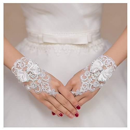 VITORIA'S GIFT The Bride Marriage Dress Wedding Sequin Lace Gloves Wedding Gloves (Short White 1)