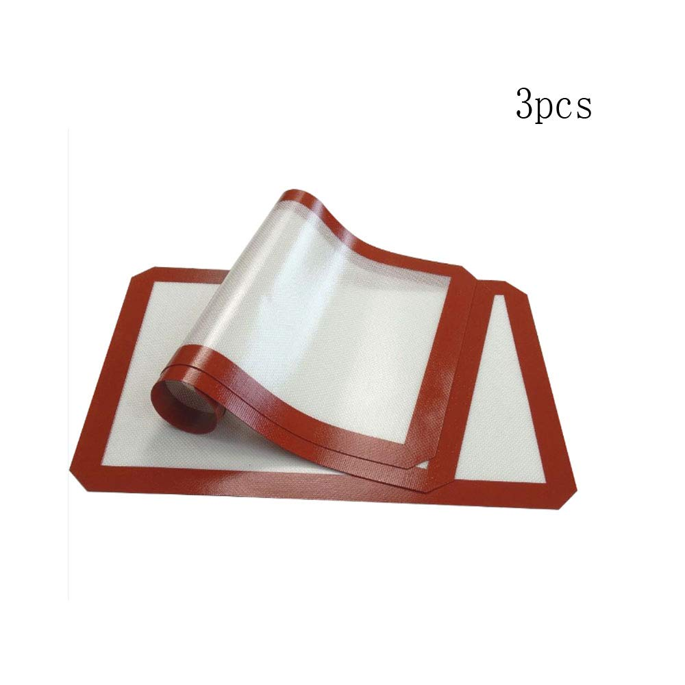 Silicone Baking Mat - Set of 3,(42x29.5cm)Non-Stick,Temperature resistance(-40+300F),Non Stick Silicon Liner for Bake Pans & Rolling - Pastry/Cookie/Bun/Bread Making- Perfect Bakeware for Making