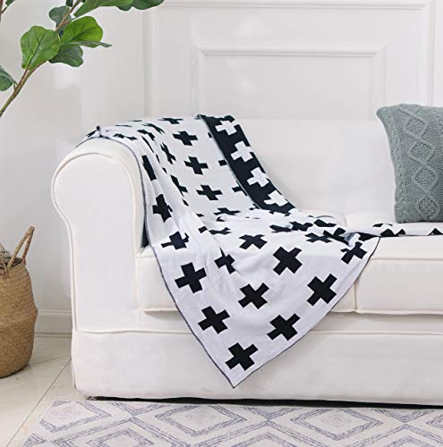 DOKOT Black and White Throw Blanket Swiss Cross Pattern 100% Cotton Knitted (35x43 inches, Swiss Cross)