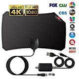 TV Antenna Indoor, Digital Amplified HD TV Antennas 75-120 Miles Range, 4K 1080P VHF UHF Freeview Television Local Channels w/Detachable Signal Amplifier and 12.1ft Longer Coax Cable