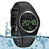 3D Pedometer Watch Sport Wristband IP68 Swimming Water-resistant Fitness Tracker with Accurately Track Steps/Distance/Calorie/Clock/Timer[No App No Phone need]for Walking Running Kid Men Women(Black)