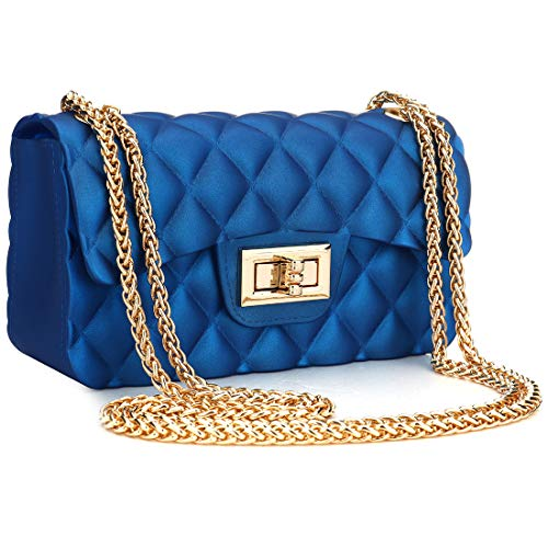 Women Fashion Jelly Shoulder Bag Mini Clutch Handbag Crossbody Bags with Chain Strap (Blue)