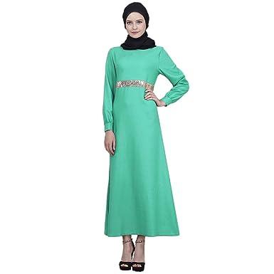Vestido de Mujer Musulmana Lentejuelas de Manga Larga islámica ...