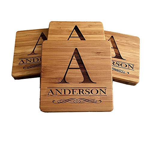 - Personalized Wedding Gifts and Bridal Shower Gifts - Monogram Wood Coasters for Drinks (Set of 4, A Design)