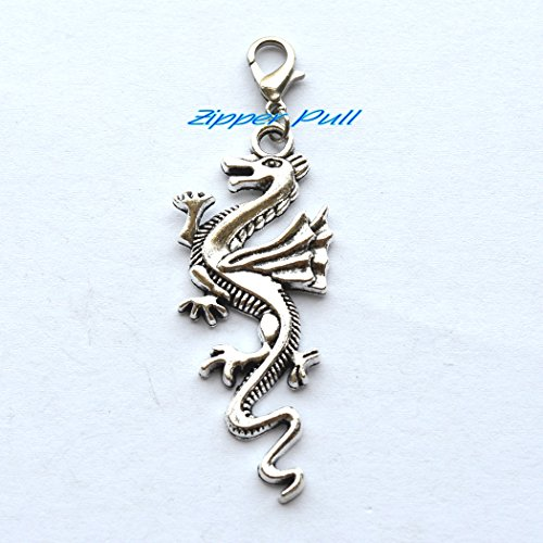 (Dragon Zipper Pull Charm for Bags, Fantasy Book Mark Accessory, Boot Charm, Purse Zipper Charm, Dragon Key Chain, Stocking Stuffer Gift Idea)
