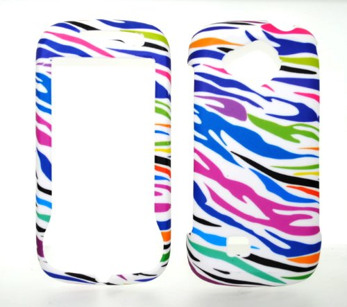 (Rainbow Zebra Rubberized Snap on Hard Skin Shell Protector Cover Case for Samsung Reality U820 + Microfiber Pouch Bag)