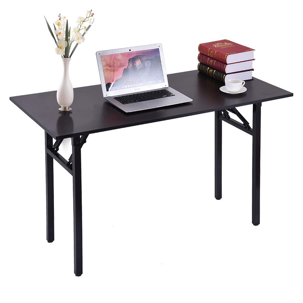 Folding Home Office Desk - Modern Simple Style Desk for Home Office, Sturdy Writing Desk - Computer Desk with Bookshelf, Office Desk, Writing Desk for Home Office Furniture - No Install Needed by QIANSKY