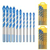 Masonry Drill Bit Set LANMOK 10 PCS Tungsten Carbide Tipped Ceramic Tile Drill Bits Assorted Size Twist Drill for Concrete Brick Glass Plastic and Wood