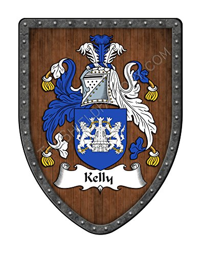 Kelly Family Crest Custom Coat of Arms , Family Ancestry and Heritage Hanging Metal Shield - Hand Made in the USA