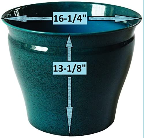 Robert Allen MPT01980 Avery Classic Ironstone Metal Planter Flower Pot, 16 , Bold Mountain Waves Color