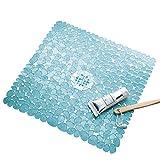 InterDesign Pebblz Suction Non-Slip Square Bath Mat for Shower, Bathtub, Stall, 22' x 22', Blue