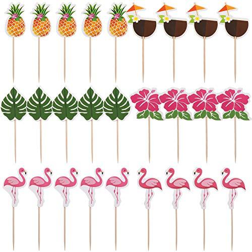 Yaomiao 96 Pieces Tropical Hawaiian Cupcake Toppers Luau Summer Flamingo Pineapple Hibiscus Flowers Tropical Palm Leaves Cupcake Toppers Picks Party Supplies -