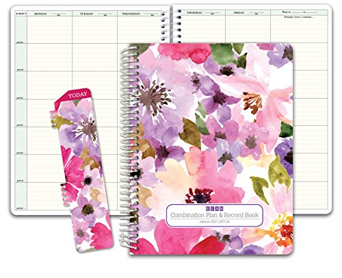 Combination Plan and Record Book: One Efficient 8-1/2 x 11 Book for Lesson Plans and Grades Combines W101 and R1010 (PR7-10) (+) Bonus Clip-in Bookmark (Spring Floral) ()