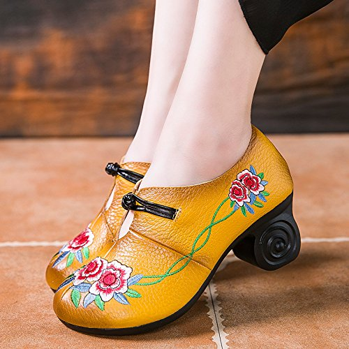 Qiusa Scarpe Zipper da Donna Ricamo Ricamo Ricamo Flower Leather Block Mary Jane (colore   Giallo, Dimensione   EU 37) 885c80