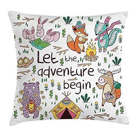 Amazon.com: Funda de cojín para camping con texto en inglés ...