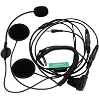 SUNDELY Half Face Open Helmet Headset/Earpiece for Midland/Alan GMRS/FRS GXT/LXT 2 Two Way Radios 2-pin Jack
