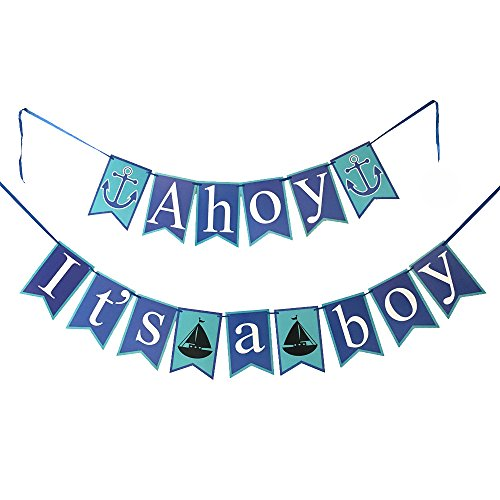 Elfun(TM) Anchor Sailor Themed Ahoy It Is A Boy Banner Baby Shower Party Deco...