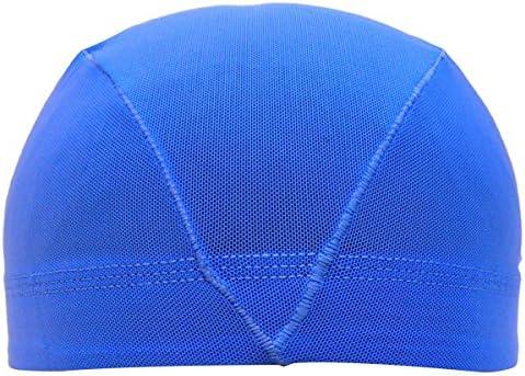 アスナロ(帽子・キャップ) 水泳帽 子供 メッシュ キッズ ジュニア 無地L(54-59cm) 青