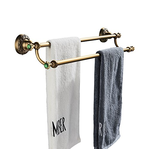(Rozin Wall Mounted Bathroom Double Towel Bars Antique Brass Towel Rack )