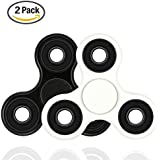 [2 PACK] Spinner Fidget Toys,Transy Hand Rotor High Speed stainless steel Bearings 2-8 Minutes Rotation No noise No jitter EDC Focus Toy For Kids & Adults (white-black)