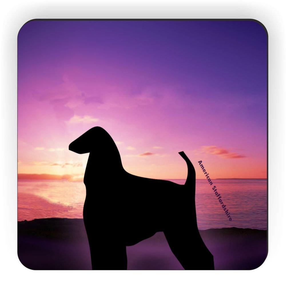 Rikki Knight American Staffordshire Dog at Sunset Design Square Fridge Magnet