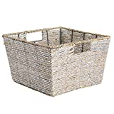 DII Decorative Woven Seagrass Basket with Metallic for Bathroom & Home Organization Solutions to Enhance Décor & Add Functionality (Basket 12x12x7.5') Silver