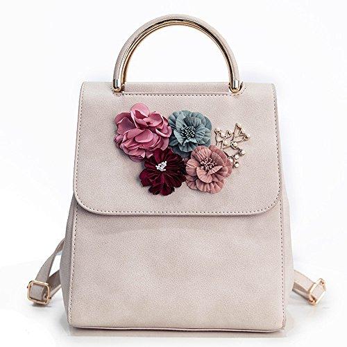 Women Satchels, BOLUBILUY Fashion Preppy Style Floral Backpack Leather Shoulder Bag Lnclined Messenger Bags