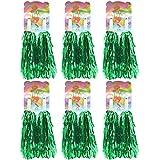 Creatiee 1 Dozen Premium Cheerleading Pom Poms, 12Pcs Hand Flowers Cheerleader Pompoms for Sports Cheers Ball Dance Fancy Dress Night Party(Green)