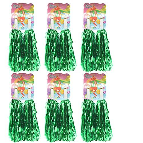 Creatiee 1 Dozen Premium Cheerleading Pom Poms, 12Pcs Hand Flowers Cheerleader Pompoms for Sports Cheers Ball Dance Fancy Dress Night Party (Green)]()