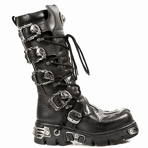 S1 Men's Rock Black M Black Mettalic Boots 403 New Leather 8HfqZ5Zw