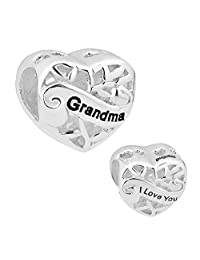 Sterling Silver Grandma Heart I Love You Filigree Charm New Beads Fit Pandora Jewelry Charms Bracelet Gifts