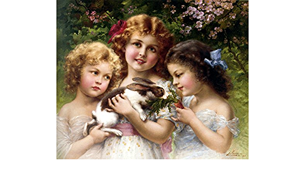 Best Friends Girls Children Rabbit Pet Carrot by Artist Emile Vernon FREE SHIP