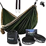Bigfoot Outdoor Double Tree Hammock Suspension System - w/XL Straps - 34 Loops Total - Over 10.6 feet Long - 6.6 feet Wide - 4 Steel Carabiners + Strap Carrying Pouch (Brown/Dark Green)