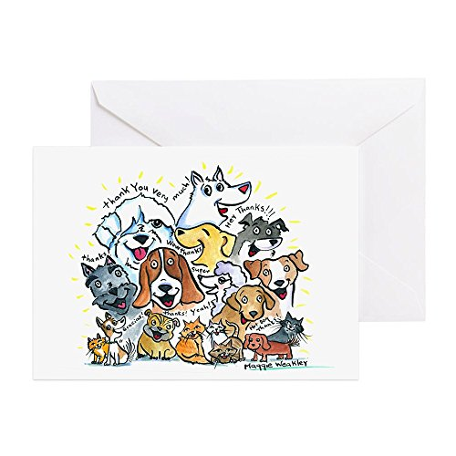 CafePress - Thank You Dogs & Cats - Greeting Card (20-pack), Note Card with Blank Inside, Birthday Card Glossy