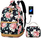2 in 1 Floral Backpack for Girls with USB Charging Port and Lunch Tote Bag Waterproof
