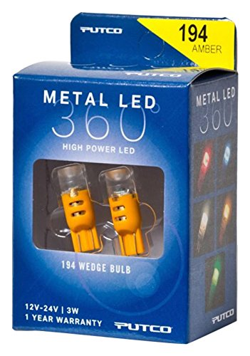 Putco Lighting 340194A-360 Metal LED 360 194 Bulb Type Amber Metal LED 360 by Putco