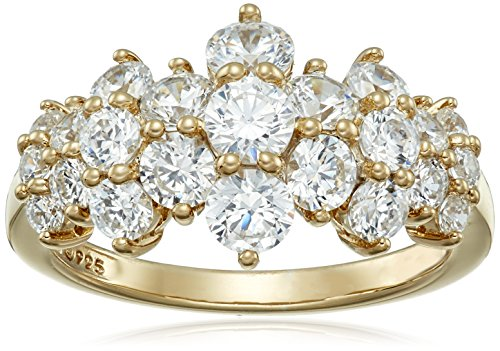 Yellow-Gold-Plated Sterling Silver Cluster Ring set with Round Cut Swarovski Zirconia (1.5 cttw), Size 7 ()