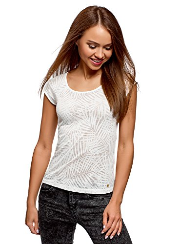 (oodji Collection Women's Raglan Sleeve T-Shirt in Textured Fabric, White, US 8 / EU 42 / L)
