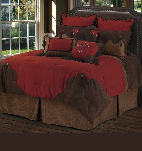 HiEnd Accents Red Rodeo Western Bedding, Super Queen